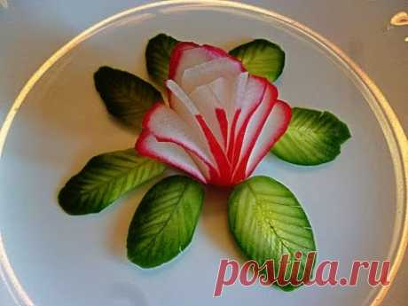5 LAYFKHAKOV AS IT IS BEAUTIFUL TO CUT THE GARDEN RADISH AND THE CUCUMBER OF DECORATION OF THE PLATE