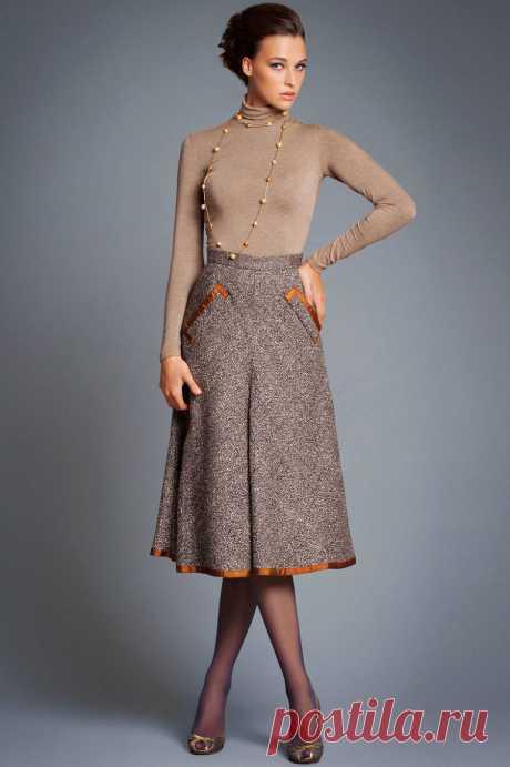 Тёплые юбки миди и макси: 24 женственных образа