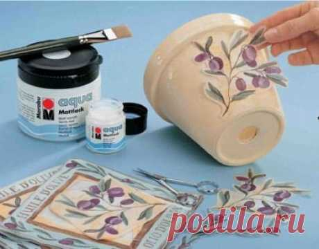 MASTERILKA. 12 ways of dressing of flowerpots How to decorate a flower pot with the hands: 12 ways of dressing of flowerpots\u000a\u000aDressing of flowerpots the hands – the fascinating occupation allowing banal will accept nothing …