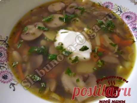 Грибной суп с фасолью. Рецепт. Фото
