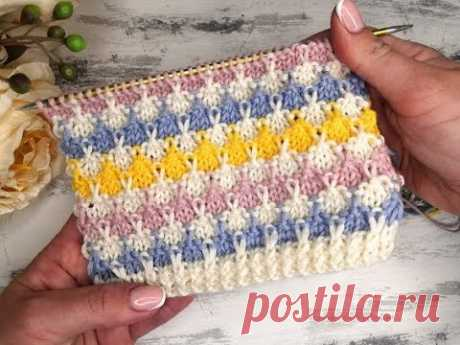 Красивый и простой многоцветный узор спицами для вязания свитеров, джемперов и детских изделий