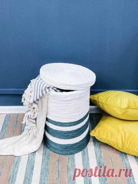 Как сделать корзину для белья/игрушек/пледов своими руками из джутового каната | Mama_v_belom | Яндекс Дзен