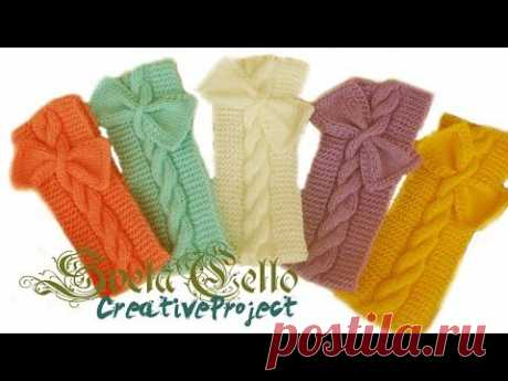 Knitted headband with bow for girl   Вязанная повязка на голову c бантом