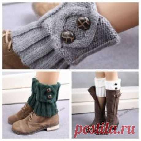 #вязание #спицами #крючком  Вязаные манжеты для обуви. Идеи.
