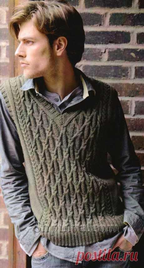 Мужской жилет с косами спицами — Shpulya.com - схемы с описанием для вязания спицами и крючком