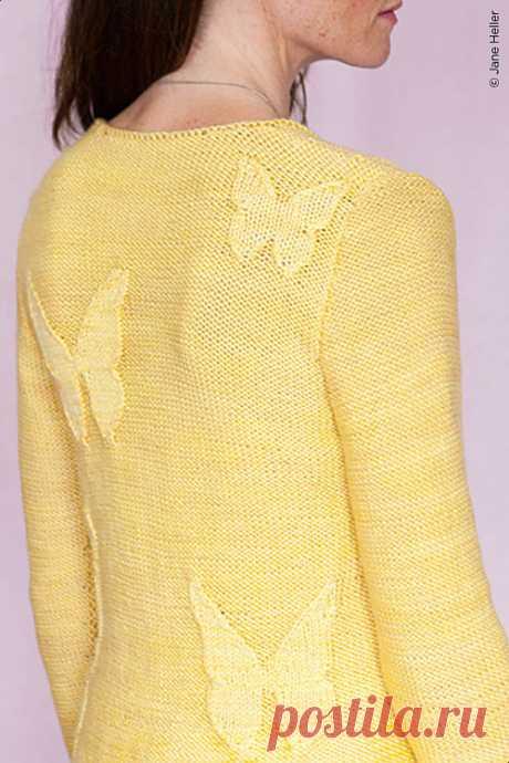 Идея: Летний жакет с бабочками (теневой узор) спицами.