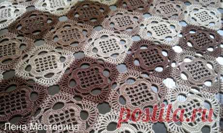 Универсальный узор для вязания салфеток и пледов из мотивов-квадратов — Рукоделие
