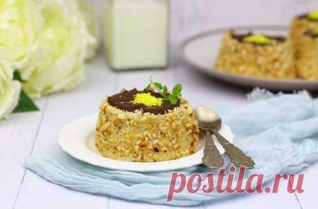 Молочное пирожное с арахисом и шоколадом (без выпечки)