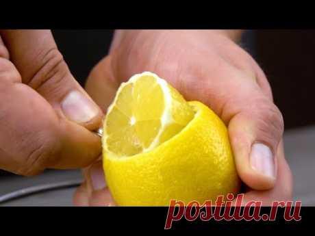 Вынимаем мякоть из лимонов и кладем кожуру в духовку. Десерт - как в ресторане!