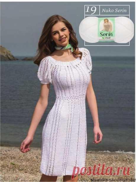 Летнее платье крючком Летнее платье крючком с рукавами фонариками. Платья вязаные крючком со схемами