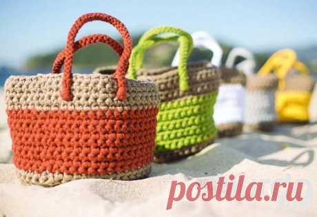 Пляжная сумка - схема вязания крючком. Вяжем Сумки на Verena.ru