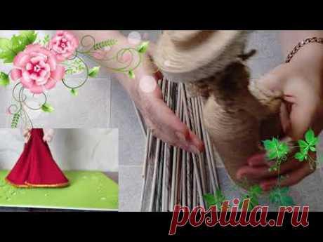 Берем газету и ткань и получаем куклу. Кукла в шляпе, как сделать волосы. DIY/рукоделие.