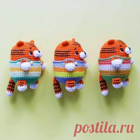 Схема вязания крючком брелка в виде тигрёнка