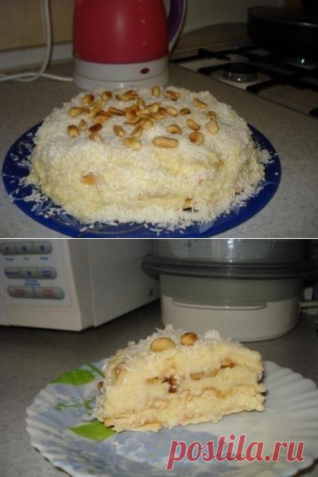 Как приготовить любимый кокосовый торт без выпечки - рецепт, ингридиенты и фотографии