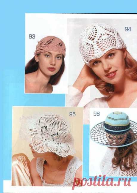 Вязаные летние шляпы..