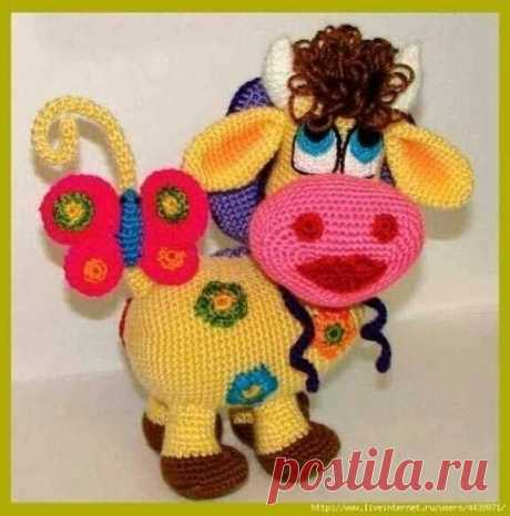 Цветочная корова  для любителей вязания.