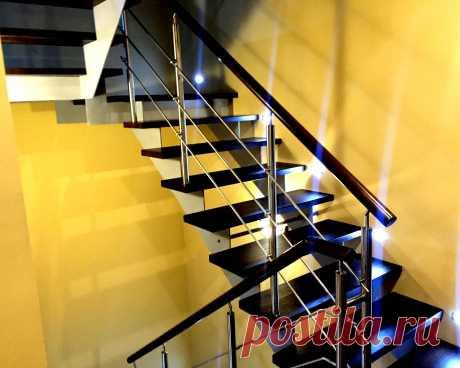Ограждения лестницы на косоурах нержавеющие