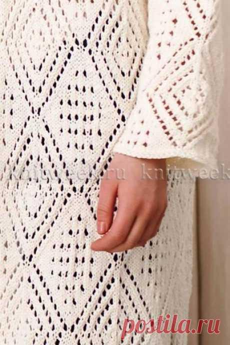 Пальто кардиган с ажурными ромбами. Меняешь пряжу - меняешь сезон. #спицы #вязаный_кардиган #вязаный_узор #узор_спицами #вязаное_пальто