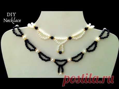 5 min craft. DIY Necklace. Beaded necklace tutorial. DIY gift