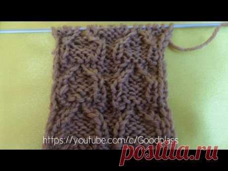 """Knitting of a pattern of """"Птичьи лапки"""". Knitting by spokes."""