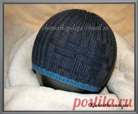 """Spring hat for the boy of 6-8 years\"""" Club Thread - knitting by spokes and not only"""