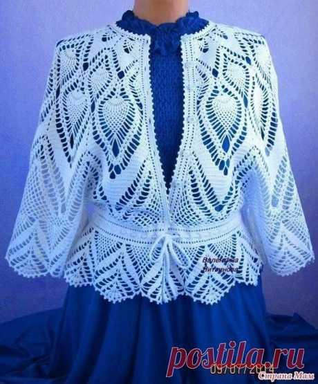 """La chaqueta \""""el Parisiense\"""" es vinculada por el gancho\u000a\u000aEl gancho №1, el Hilo 100 % el algodón (100 gr. - 700).\u000aLa chaqueta muy tierno, adornado, aéreo.\u000a\u000aSe acercará para cualquier edad y cualquier figura.\u000aSe puede llevar con la falda, los pantalones, con el vestido."""