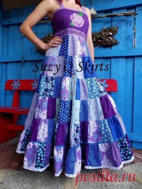Лавандово-синее цыганское платье