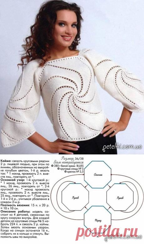 Шикарная белая блуза спицами. Описание вязания, выкройка