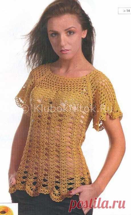 Ажурный топ | Вязание для женщин | Вязание спицами и крючком. Схемы вязания.