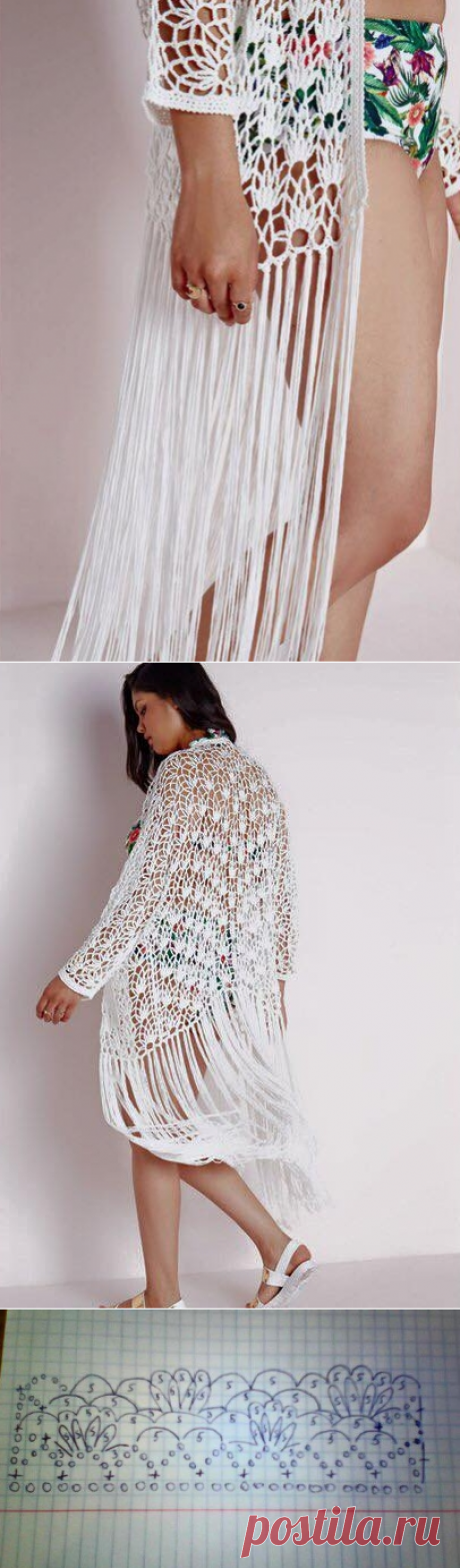 Openwork cardigan with a fringe. The openwork cardigan connected by a hook  