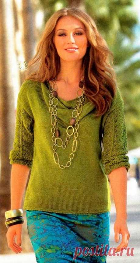 Пуловер с воротником «Каскад» спицами » СЕЗОН ХОББИ