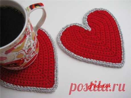 Подставка под чашки вязаная крючком, вязаное крючком сердце | Лаборатория домашнего хозяйства