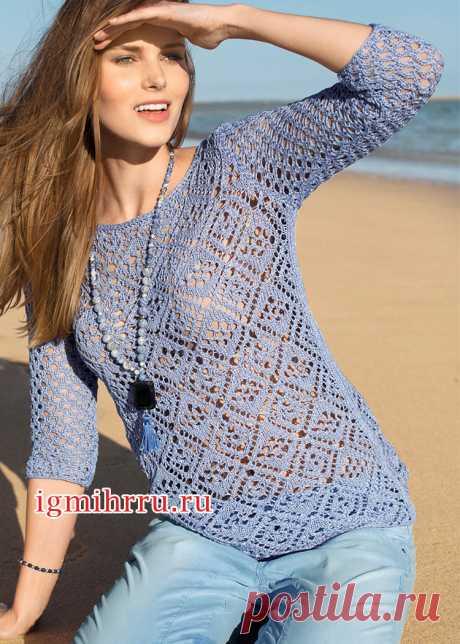 Голубой пуловер с ажурным узором из ромбов. Вязание спицами