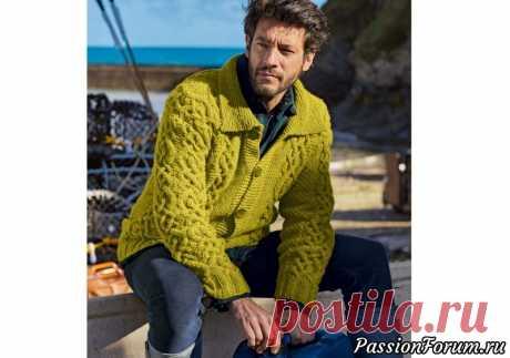 Мужской жакет с плетеным узором