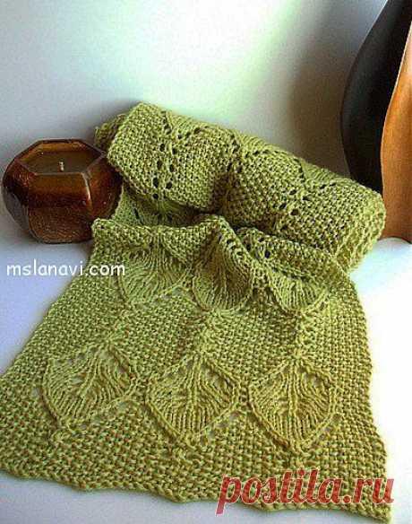 Зеленый ажурный шарф