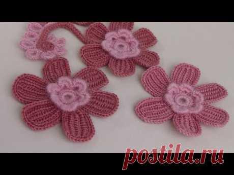 Вязание ЦВЕТКА . Урок вязания крючком. Тунисское вязание.Crochet flower. - YouTube