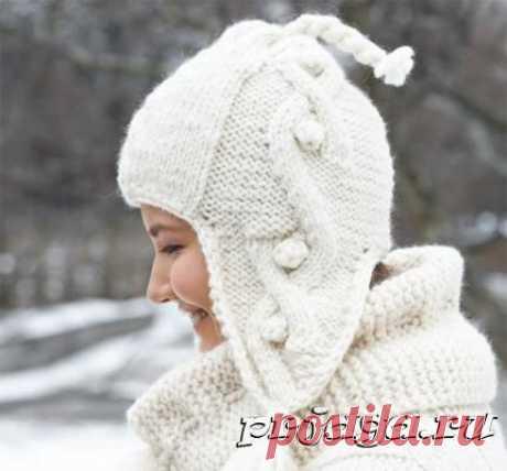 Зимняя шапка спицами с аранами