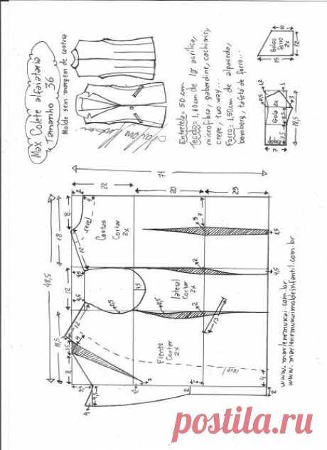Выкройка стильного женского жилета р. 36-56 евро (Шитье и крой) – Журнал Вдохновение Рукодельницы