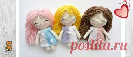 Мини амигуруми куколка в двухцветном платьеце | Амигуруми крючком - Блог