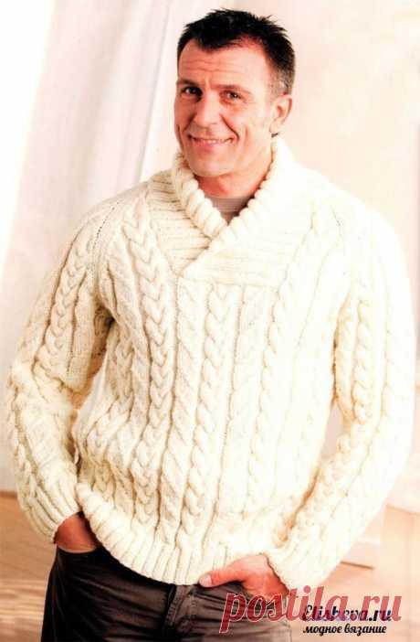 Мужской пуловер с косами   Размеры: 46(48; 50-52; 54-56)  Для изготовления такого пуловера нам потребуется: пряжа кремового цвета (шерсть 50%, акрил 50%, 100г/160м) – в зависимости от размера 850(900; 1000; 1050) граммов; спицы №5,5 и №4,5; одна вспомогательная спица.  Типы вязки Резинка (2х2): чередуем 2ЛП и 2ИП. В изнаночных рядах – по рисунку. Фантазийный узор: выполняем по представленным схемам 1 и 2. Двойное декоративное убавление на трех кромочных петлях: с лицевой с...