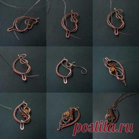 МК: кулон в виде листика #wire_wrapped #wire_work #wire_art #wirewrap #идеи #Гильдия_мастеров #кулон #плетение_из_проволоки Источник: https://www.flickr.com
