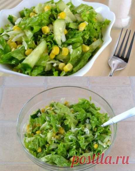 Cucumbers salad, cabbage and corn