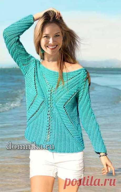 Женский пуловер из хлопка схемы вязания и описание джемпера на лето