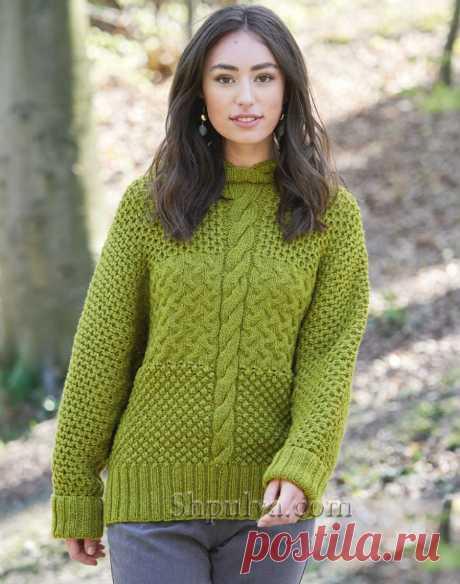 Теплый пуловер с капюшоном и цельновязанными рукавами — Shpulya.com - схемы с описанием для вязания спицами и крючком