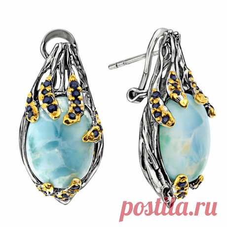 Серебряные серьги ALEXANDRE VASSILIEV с ларимаром, сапфирами и позолотой GLE028 - Женские украшения