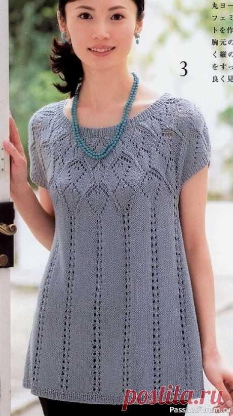 Ажурная туника спицами | Вязание для женщин спицами. Схемы вязания спицами
