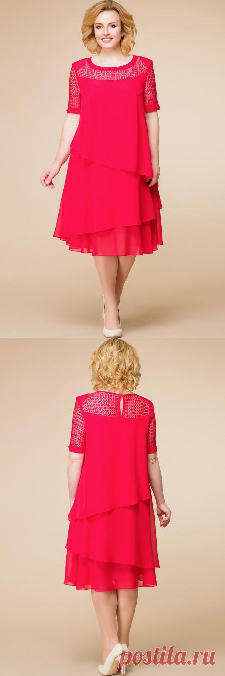 Платье Romanovich, красный (модель 1-1498) — Белорусский трикотаж в интернет-магазине «Швейная традиция»