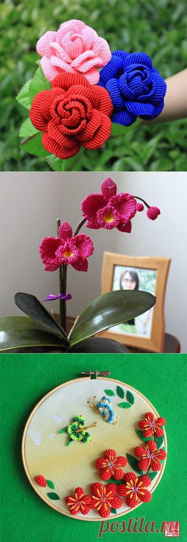 Красивые цветы из бисера и макраме.