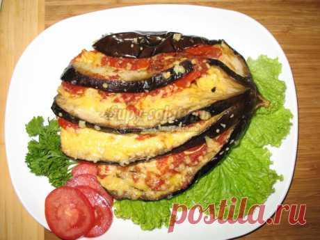Баклажан, запеченный с сыром и помидорами