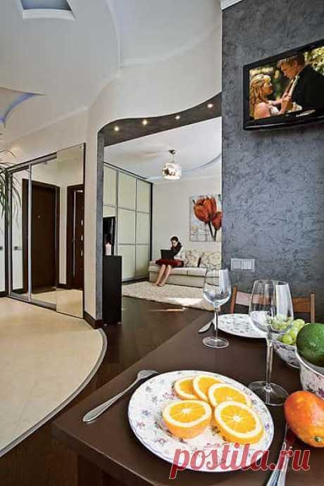 Дизайн малогабаритной однокомнатной квартиры 33 кв.м - готовый дизайн-проект #дизайнпроект #однокомнатнаяквартира #малогабаритнаяквартира #33квм